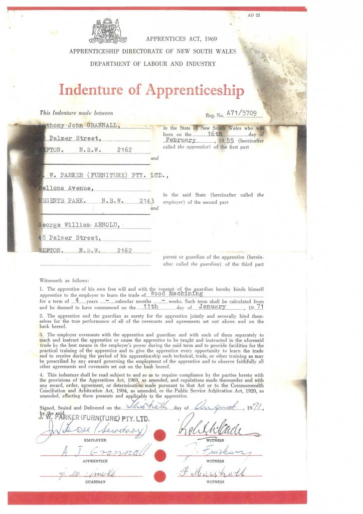 Germancraft Cabinets Indenture of Apprenticeship - Anthony John Grannall
